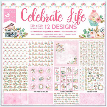 """Little Birdie 12x12"""" Paper Pack - Celebrate Life 12 Sheets"""