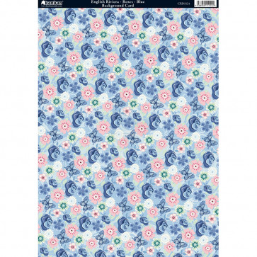 Kanban A4 Background Card - English Riviera Roses Blue