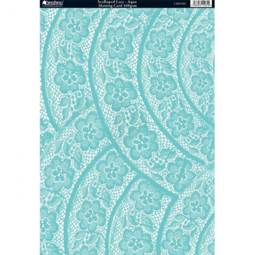 Kanban A4 Matting Card 160gsm - Scalloped Lace, Aqua