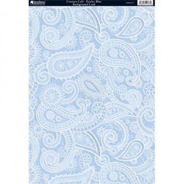 Kanban A4 Background Card - Couture Café Paisley Blue