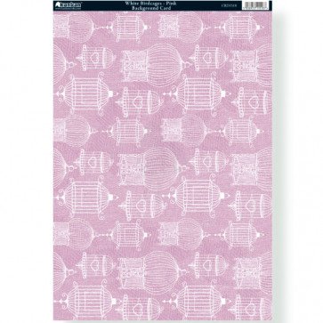 A4 Kanban Background Card - White Birdcages - Pink