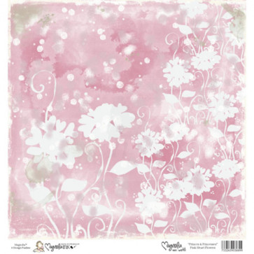 "Magnolia Ink Princes & Princesses Mini Paper 6""X6"" - Pink Heart Flowers"