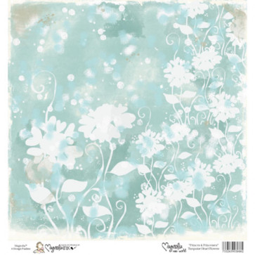 "Magnolia Ink Princes & Princesses Mini Paper 6""X6"" - Turquoise Heart Flowers"
