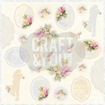 "Craft & You Design My Wedding Enkeltsidet Cardstock 12x12"" Klippeark - 07"