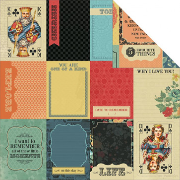 "KaiserCraft The Looking Glass Dobbeltsidet Cardstock 12x12"" - Queen Of Hearts"