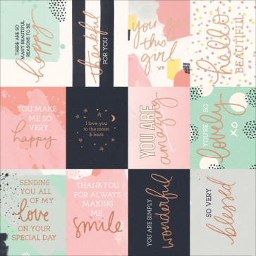 """KaiserCraft Daydreamer Foiled Cardstock 12x12"""" - Happy Moments W/Rose Gold"""