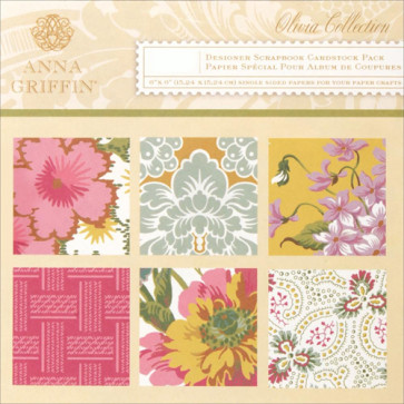 "Anna Griffin Olivia Cardstock Pad 6x6"" TASTER"