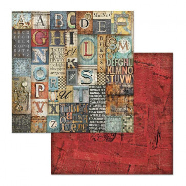 "Stamperia Double-Sided Cardstock 12x12"" Mechanical Fantasy Alphabet"