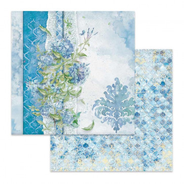 "Stamperia Double-Sided Cardstock 12x12"" Flowers For You On Light Blue Background"