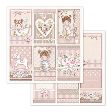 "Stamperia Double-Sided Cardstock 12x12"" Little Girl Frames"