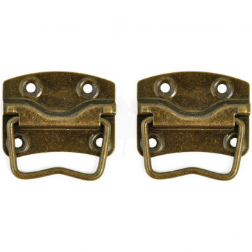 KaiserCraft Treasures Metal Case Handle With Backplate 2/Pkg - Antique Brass