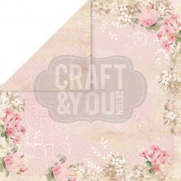 "Craft & You Design Vintage Time Dobbeltsidet Cardstock 12x12"" Paper - 03"