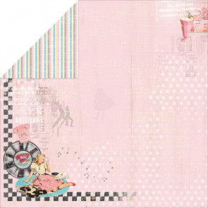 "FabScraps Milkshake Chic Dobbeltsidet Papir 12x12"" - Strawberry"