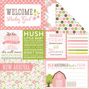 "Echo Park Bundle Of Joy/A New Addition Dobbeltsidet Cardstock 12x12"" - Baby Girl, Welcome"