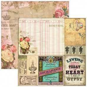 "Marion Smith Design Junque Gypsy Double Sided Cardstock 12x12"" - Dolce Vita"