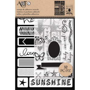 Art-C Stencil & Clear Stamp Words & Icons