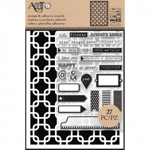 Art-C Stencil & Clear Stamp Interlock Squares