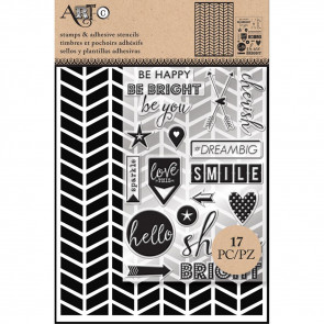 Art-C Stencil & Clear Stamp Chevron