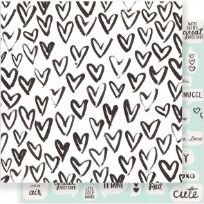 "Crate Paper Heart Day Double-Sided Cardstock 12x12"" - Snuggles"