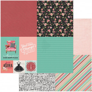 "Vintage Girl Double-Sided Cardstock 12x12"" Tiny Prints Quad 2"