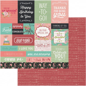 """Vintage Girl Double-Sided Cardstock 12x12"""" Tiny Prints Cut Apart Cards"""