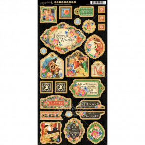 "Graphic 45 Little Women Chipboard Die-Cuts 6x12"" Sheet Decorative & Journaling"