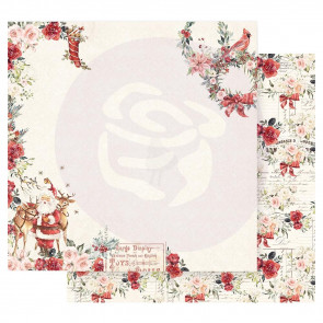 "Prima Marketing Christmas In The Country Double-Sided Cardstock 12x12"" Sweet Santa Claus"