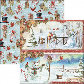 "Ciao Bella Double-Sided Cardstock 12x12"" Northern Lights - Snowmen"