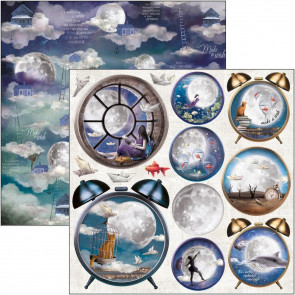 "Ciao Bella Double-Sided Cardstock 12x12"" Moon & Me - Alarm Clock"