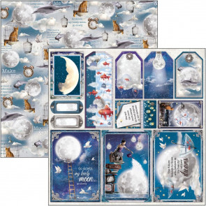"Ciao Bella Double-Sided Cardstock 12x12"" Moon & Me - Frames & Tags"