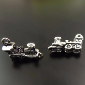 Charms 8x7x5mm Sølvtonet Tog