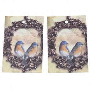 Paper Label Tags - Bird Flower