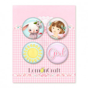 LemonCraft Girl's Little World Buttons / Badges