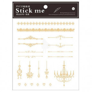 Season Leaf PVC Gold Planner Stick Me Stickers Golden Line