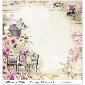 "LaBlanche Papers ""Vintage Flowers"" 01 Dobbeltsidet 12x12"""