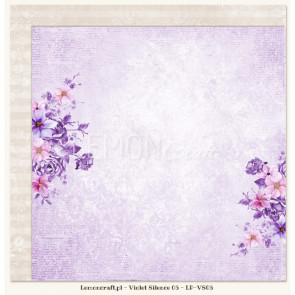 "LemonCraft Double Sided 12x12"" Scrapbooking Paper - Violet Silence 05"