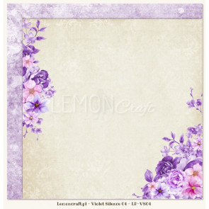 "LemonCraft Double Sided 12x12"" Scrapbooking Paper - Violet Silence 04"