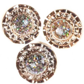 Gold Plated White Rhinestone Round Resin Shank Buttons 13mm
