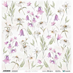 "ScrapAndMe Paper Ark 12x12"" Aquarelles Flowers 1 Cut Out Sheet"
