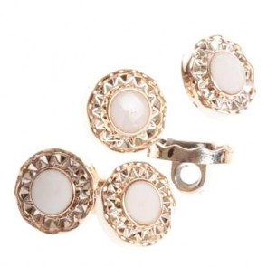 Rose Gold White Enamel Resin Round Shank Buttons 13mm