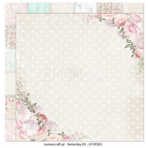 "LemonCraft Double Sided 12x12"" Scrapbooking Paper - Yesterday 03"