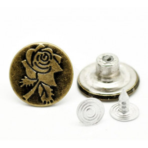 Flower Pattern Jean Tack Buttons 17x8mm 1 STK
