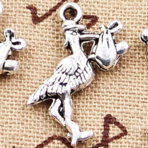 Beyond Visions Metal Pynt Stork m/Baby Charms
