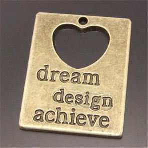 "Charms 3x2,4cm Antik Bronze Plade med Tekst ""Dream Design Achieve"""