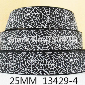 25mm Pyntebånd - Halloween Spider Web Black