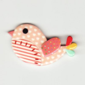Resin Kawaii Fugl Fersken