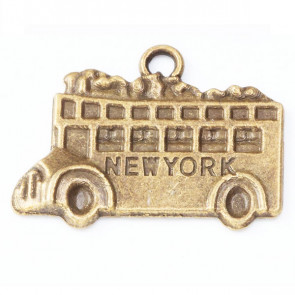 Beyond Visions Metal Pynt - Antik Bronze New York Bus Charms