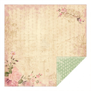 "Authentique Cherish Dobbeltsidet Cardstock 12x12"" - One - Rose Cluster & Banner/Mini Floral"