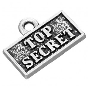 "Beyond Visions Metal Pynt Charms - Plade med Tekst ""Top Secret"""