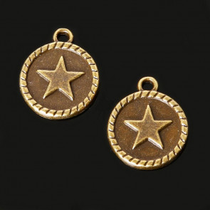 Findings Vintage Star Round Pendant Charms 15x18mm - Antik Bronze